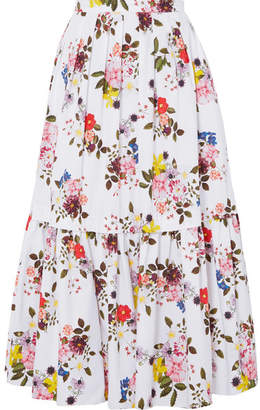 Erdem Leight Tiered Floral-print Cotton-poplin Maxi Skirt - White