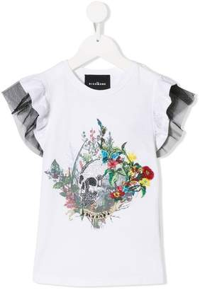 John Richmond Junior floral skull embroidered top