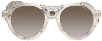 Moncler Clear and Silver Round Sunglasses