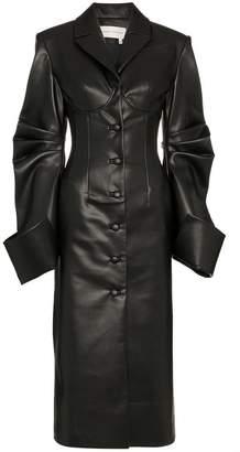 Aleksandre Akhalkatsishvili faux leather corseted trench coat
