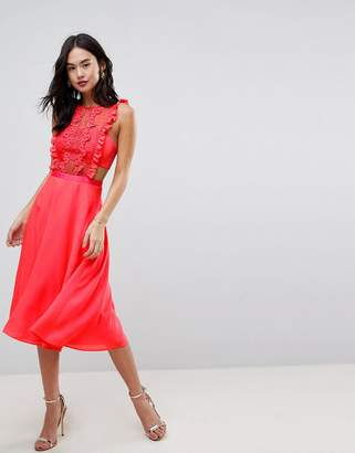 Asos Design Lace Pinafore Pleated Midi Dress