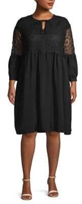 ABS by Allen Schwartz Plus Baby Doll Long-Sleeve Dress