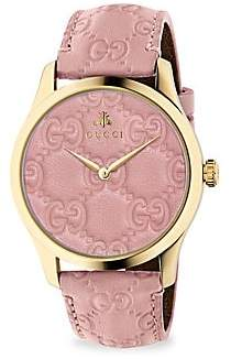 Gucci G-Timeless Gold PVD Case 38MM Pastel Pink Leather Strap Watch
