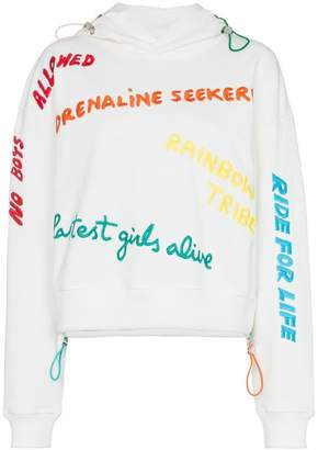 Mira Mikati rainbow embroidered slogan cotton hoodie