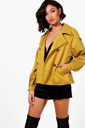boohoo Hannah Crop Trench Coat