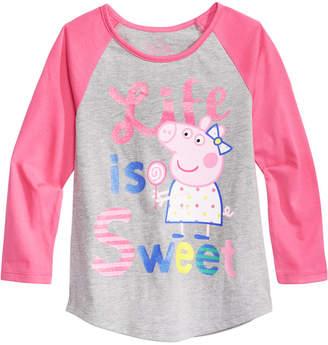 Peppa Pig Little Girls Graphic-Print Raglan T-Shirt