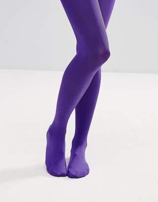 Asos DESIGN 90 Denier High Shine Tights In Purple