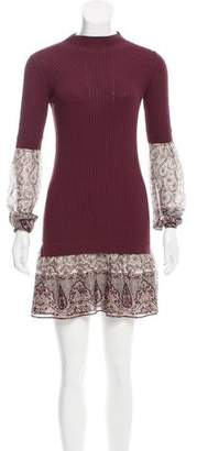 Veronica Beard Ribbed Silk-Paneled Dress