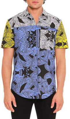 Versace Barrocco Istante Printed Short-Sleeve Sport Shirt