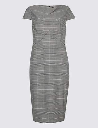 Marks and Spencer Checked Short Sleeve Pencil Dress