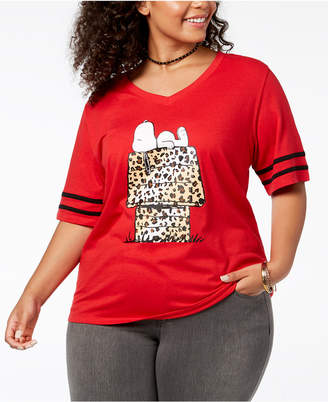 Love Tribe Plus Size Snoopy Leopard-Print T-Shirt