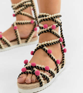 d316464f0141 Asos Design DESIGN Just Play Wide Fit Pom Sandals Espadrilles