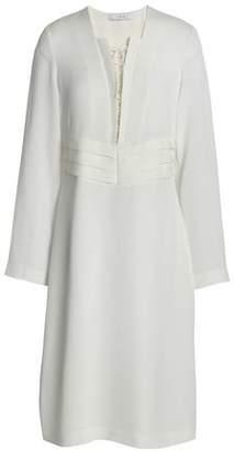 IRO Lace-Up Pleated Crepe Dress