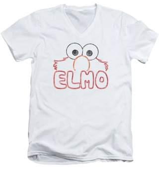 Sesame Street Classic TV Show Simple Elmo Name Adult V-Neck T-Shirt Tee