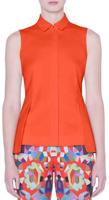 Akris Sleeveless Zip-Front Peplum Shirt