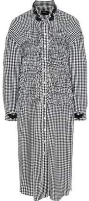 Simone Rocha Bead-Embellished Ruffled Gingham Cotton Midi Dress