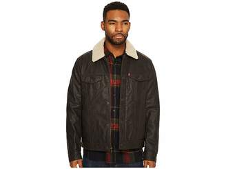 Levi's Faux Leather Trucker with Sherpa Collar and Polytwill Lining