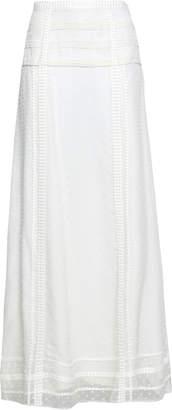 Oscar de la Renta Lace-trimmed Fil Coupe Silk Maxi Skirt