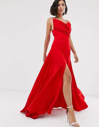 Yaura cowl neck maxi fishtail dress in red