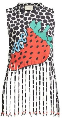 6b0606b472cd7 Gucci Strawberry Print Cotton Jersey Tank Top - Womens - Red Print