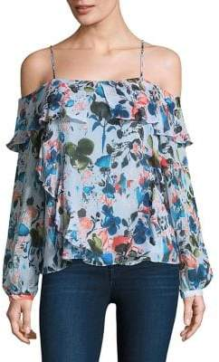 Tanya Taylor Daisy Off-The-Shoulder Silk Top