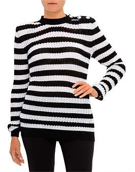 Balmain Long Sleeve 3 Button Pleated Stripe Sweater