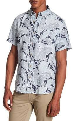 Tailor Vintage Banana Leaf Print Linen Short Sleeve Shirt