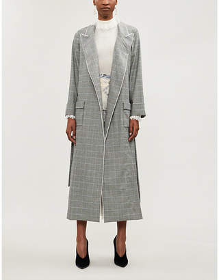 Windsor Racil contrast-piped houndstooth wool coat