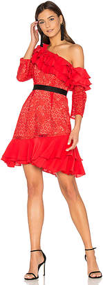 For Love & Lemons Chianti Off Shoulder Ruffle Dress in Red $290 thestylecure.com