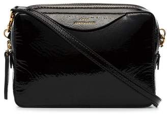 Anya Hindmarch black double stack patent leather clutch bag