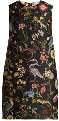 RED Valentino Floral Jacquard Shift Dress - Womens - Black Multi