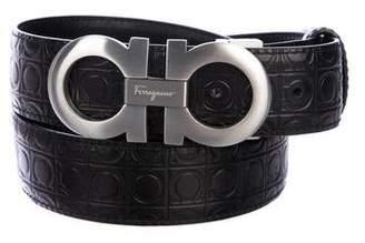 Salvatore Ferragamo Gancio Embossed Leather Belt