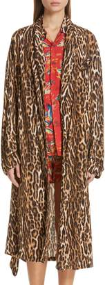 R 13 Leopard Print Smoking Robe with Piping
