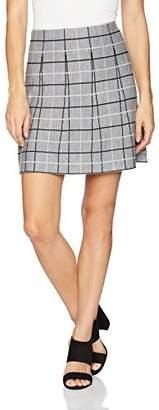Minnie Rose Women's Stripped/Ruffled Plaid Mini Skirt