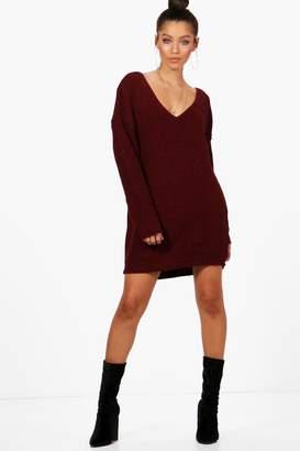 boohoo V Neck Jumper Mini Dress