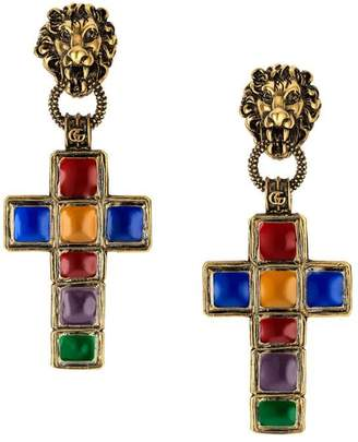 Gucci Earrings with cross pendant and lion