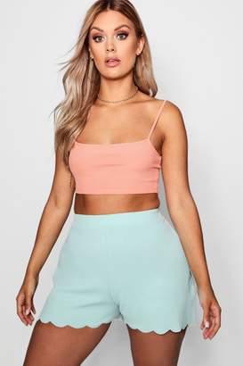 boohoo Plus Scallop Hem Tailored Shorts