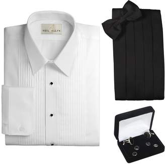 Neil Allyn Tuxedo Shirt, Cummerbund, Bow Tie, Cufflink & Studs Set - Laydown Collar, L (16-16.5 Neck, 34/35 Sleeve)