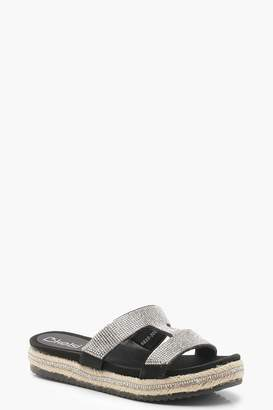 boohoo T Bar Diamante Flatforms