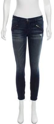 Current/Elliott Distressed Low-Rise Jeans