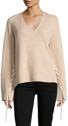 Helmut Lang Ribbed Wool-Blend Pullover Sweater $395 thestylecure.com