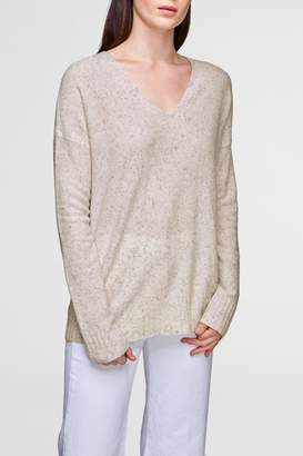 White + Warren Wide Rib V-Neck