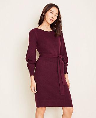 Ann Taylor Boatneck Belted Sweater Dress