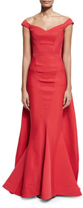 Zac Posen Off-the-Shoulder Cape Mermaid Gown, Cherry $4,990 thestylecure.com
