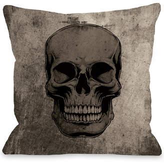 One Bella Casa Grunge Skull Decorative Pillow