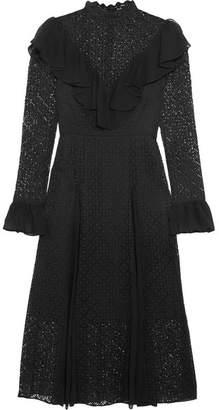 Temperley London Prairie Ruffled Chiffon-trimmed Guipure Lace Midi Dress - Black