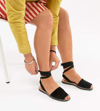 Park Lane Wide Fit Suede Tie Leg Flat Sandals