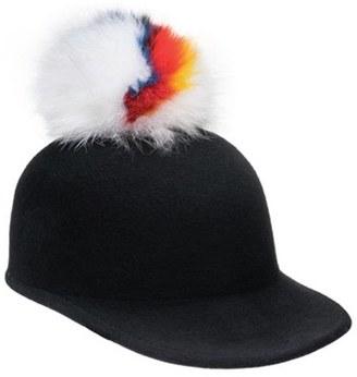 Women's Eugenia Kim 'Bo' Genuine Arctic Fox Pom Wool Hat - Black $295 thestylecure.com