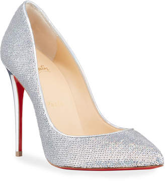 Christian Louboutin Pigalle Follies Sequined Red Sole Pumps