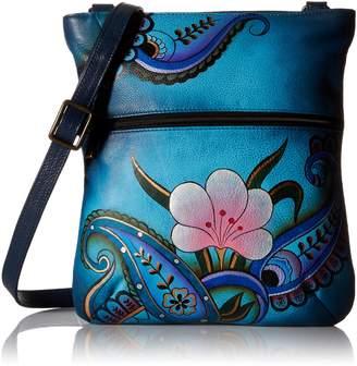 Anuschka Handpainted Leather 8071-DPF Slim Cross Shoulder Bag